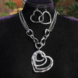 Boho Silver Heart Statement Necklace & Earring Set